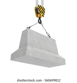 3d rendering of concrete block hanging on a hook with two ropes isolated on the white background. Building industry. Building materials. Materials transportation.