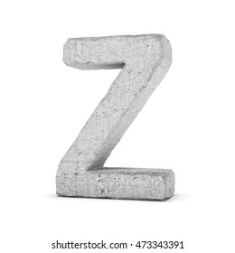 3D rendering concrete letter Z isolated on white background. Signs and symbols. Alphabet. Cracked surface. Textured materials. Cement object.