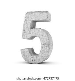 3D rendering concrete number 5 isolated on white background. Figures and symbols. Cracked surface. Textured materials. Cement object.