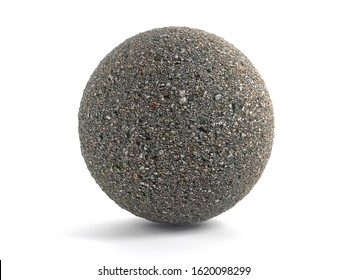 3D rendering of concrete sphere on white background