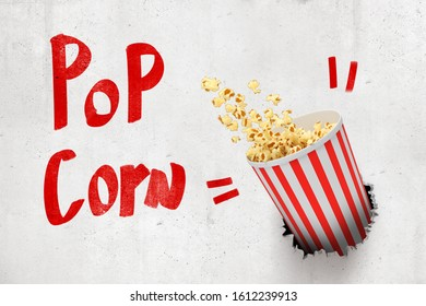 3d rendering of concrete wall with title 'Pop Corn' and pop corn bucket that has broken hole in the wall. Tasty snacks. Movie time. Food advertising.