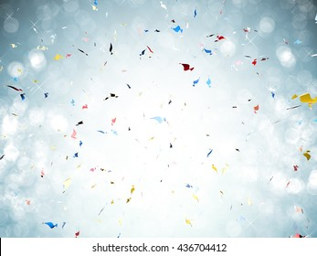 3d rendering confetti explosion on blue background