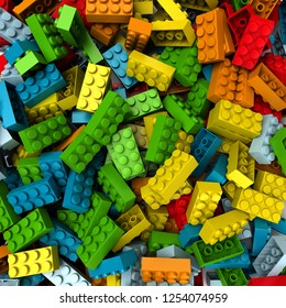 3D rendering of construction blocks in different shades of bright colors