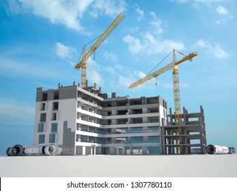 3D rendering Construction project from planning to building stage