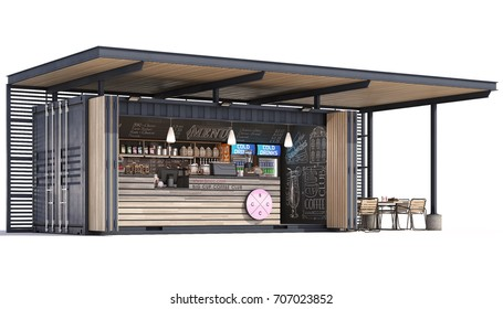 3d Rendering of a container cafe on white background