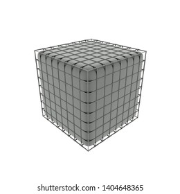 3d Rendering of container in wire box
