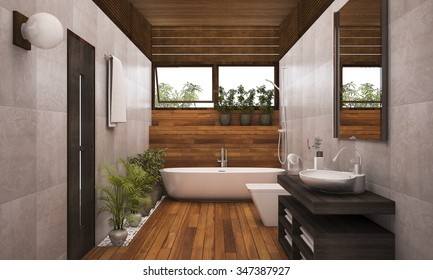 3D rendering contemporary wood bathroom with plants