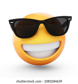3D Rendering cool emoji with sunglass isolated on white background