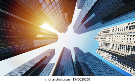 3d Rendering of corporate buildings or business district with sunlight