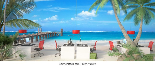 3D rendering of a corporate office in the middle of a tropical beach