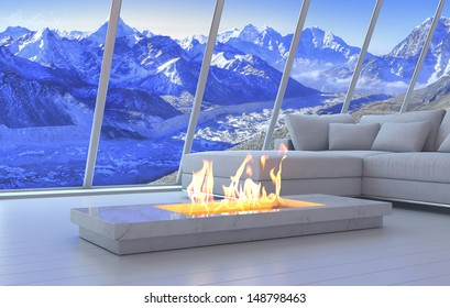 3D rendering of couch and fireplace with scenery view of mountains.