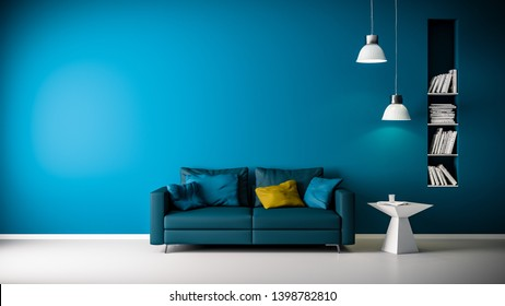 3D rendering of couch or sofa in living room in front of blue wall with copy space and modern or minimalistic interior and white floor