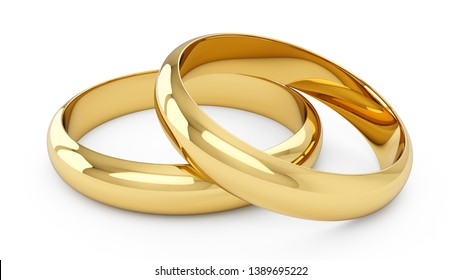 3D rendering Couple of Golden wedding rings isolated on white