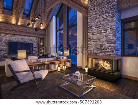 3D Rendering Of Cozy Living Room On Cold Winter Night In The Mountains,  Evening Interior