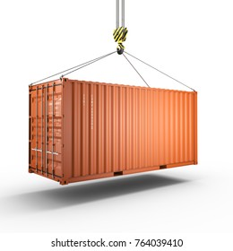 3D rendering of a crane hook with a cargo container on a white background