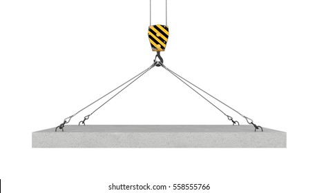 3d rendering of crane hook lifting concrete panel on the white background. Construction equipment. Cranes and cargoes. Building industry