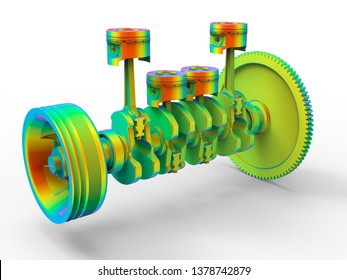 3D rendering - crank shaft finite element analysis
