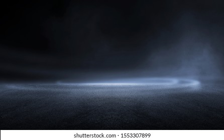 3D Rendering creative blurry asphalt background with mist light high speed