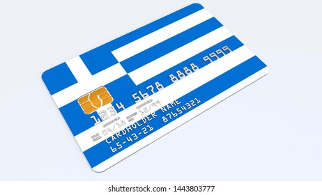 3D rendering of Credit Card or Debit Card covered or featureing flag of Greece