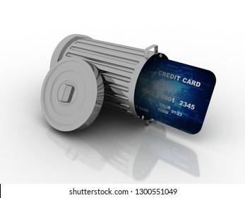 3d rendering  credit or debit card in recycle bin