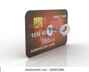 3d rendering  credit or debit card insert key
