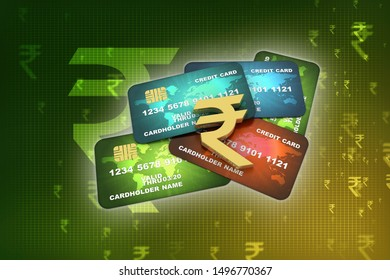 3d rendering  credit or debit card with indian rupee