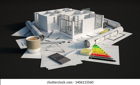 3D rendering of Cross section of an apartment on top of a black surface with mortgage application form, calculator, blueprints,energy efficiency chart, etc..