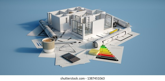 3D rendering of Cross section of a residential unit on top of a table with mortgage application form, calculator, blueprints, etc..