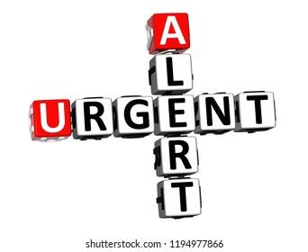 3D Rendering Crossword Alert Urgent Word Over White Background.