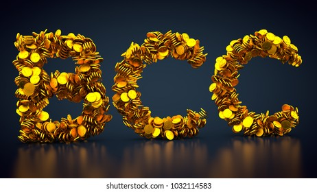 3D rendering: crypto currency BitConnect made out of golden coins