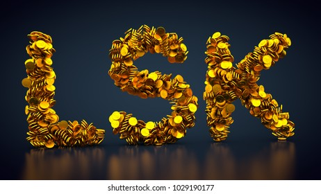 3D rendering: crypto currency Lisk made out of golden coins