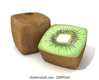 3D rendering of a cubic kiwi and a half