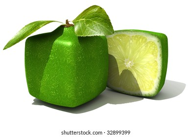 3D rendering of a cubic lime and a half