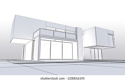 3D rendering of a cubic modern house