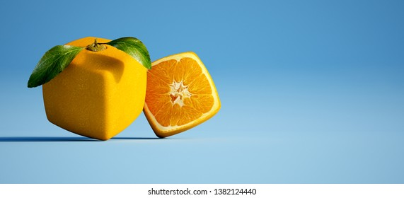 3D rendering of a cubic orange and a half against a blue background