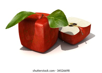 3D rendering of a cubic red apple and a half
