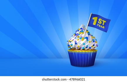3D Rendering of Cupcake, 1st Year Text on the Flag, Blue Paper Cupcake