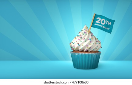 3D Rendering of Cupcake, 20th Year Text on the Flag, Blue Paper Cupcake
