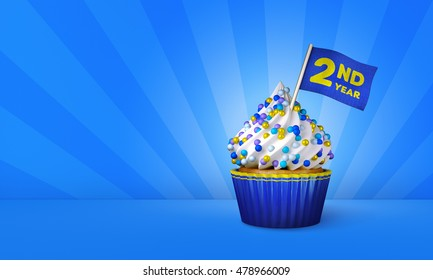 3D Rendering of Cupcake, 2nd Year Text on the Flag, Blue Paper Cupcake