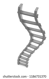 3D rendering of curved monochrome ladder, isolated, in drawing style