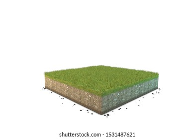 3D rendering cutaway square terrain floor on the white background.