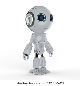3d rendering cute artificial intelligence robot with cartoon character