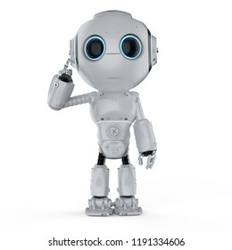 3d rendering cute artificial intelligence robot think or analysis