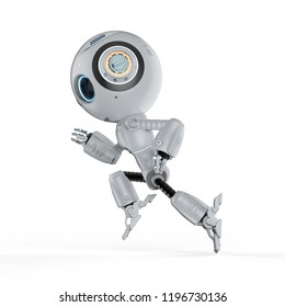 3d rendering cute artificial intelligence robot run on white background