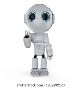 3d rendering cute artificial intelligence robot with cartoon character hand up