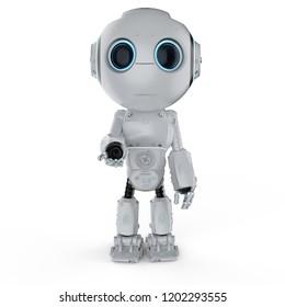 3d rendering cute artificial intelligence robot open hand