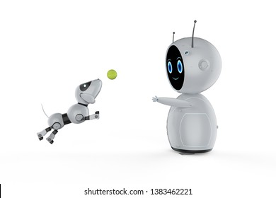 3d rendering cute artificial intelligence robot with dog robot