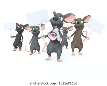 3D rendering of cute cartoon mice holding blank signs and looking upset while marching and protesting. Maybe they are on a strike. White background.