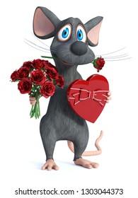 3D rendering of a cute cartoon mouse holding a heart shaped chocolate box in one hand and a bouquet of red roses in the other hand and a rose in his mouth. He is ready for a romantic valentine's date.
