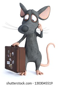 3D rendering of a cute cartoon mouse holding a travel suitcase and looking like he is thinking about something. He seems ready to travel. White background.